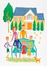 3世帯家族と住宅 イラスト