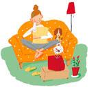 テレビを見る女性 イラスト