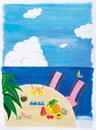 海辺のテーブル イラスト