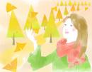秋の女性と銀杏並木