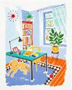 犬が佇む書斎イメージ イラスト