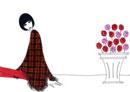 薔薇と女性