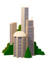 高層ビルの立体
