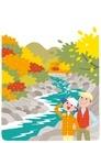 紅葉を楽しむ夫婦