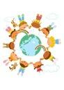 いろんな国の子供達と地球