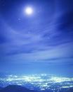 福島市街と月