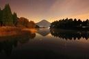 水面に映る富士山と樹林のライトアップと星空