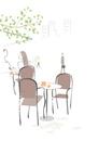 街のオープンカフェと街の人々
