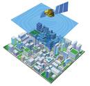 四角の街と衛星と天気図