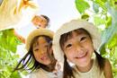 向日葵畑で微笑む子供達