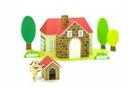 家と犬小屋と犬