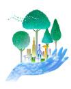手と樹木と街並