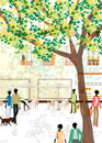 街と樹木と人々