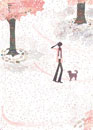 桜が舞う中を歩く女性と犬