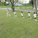 芝の上で運動をする先生と子供たち