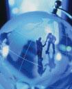 地球儀とビジネスマン・オブジェ