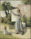 洗濯物を干す女性 ピサロ