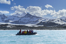 キングペンギンのコロニーの海岸の沖を走るエコツアーのボート