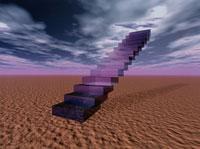 空に伸びる階段と砂漠のイラスト