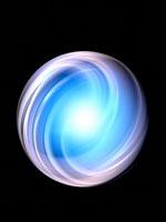 青く光る球体