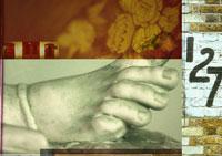 足の像と壁に書かれた数字のコラージュ 00118010042| 写真素材・ストックフォト・画像・イラスト素材|アマナイメージズ