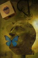 人物の頭と口にとまった蝶のコラージュ 00118010048| 写真素材・ストックフォト・画像・イラスト素材|アマナイメージズ