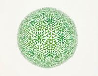 葉をパターン柄にした万華鏡のイメージ