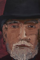 帽子をかぶるシニア男性の顔
