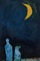 人物と犬と月