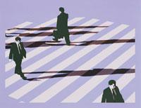 横断歩道を渡る人と影 00243010227  写真素材・ストックフォト・画像・イラスト素材 アマナイメージズ