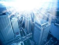 光の射す新宿高層ビル群 CG