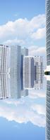 横浜のビル群の映り込みパノラマ