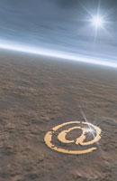 地表に描かれたアットマーク 合成