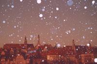 雪の降る街 ローテンブルグ ドイツ