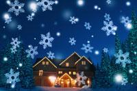 雪の結晶とクリスマスイルミネーション 00299010196| 写真素材・ストックフォト・画像・イラスト素材|アマナイメージズ