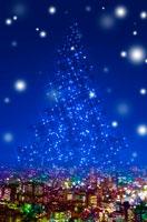 都会に降る雪とクリスマスツリー 00299010294| 写真素材・ストックフォト・画像・イラスト素材|アマナイメージズ
