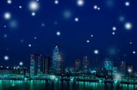 夜の都会に降る雪 00299010299| 写真素材・ストックフォト・画像・イラスト素材|アマナイメージズ