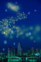 夜景と雪の結晶と光のサンタクロース 00299010300| 写真素材・ストックフォト・画像・イラスト素材|アマナイメージズ