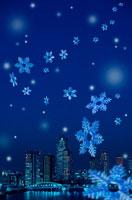 都会の夜景と雪の結晶 00299010301| 写真素材・ストックフォト・画像・イラスト素材|アマナイメージズ