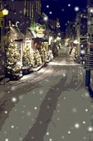 クリスマスツリーのある雪のケベックの街並み CG カナダ 00299010435| 写真素材・ストックフォト・画像・イラスト素材|アマナイメージズ