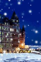 城と雪が降る夜のクリスマスイメージ カナダ 00299010441| 写真素材・ストックフォト・画像・イラスト素材|アマナイメージズ