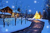 家への道と雪が降る夜のクリスマスツリー カナダ 00299010442| 写真素材・ストックフォト・画像・イラスト素材|アマナイメージズ