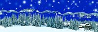 山並みと森と家と雪 クリスマスイメージ カナダ 00299010456| 写真素材・ストックフォト・画像・イラスト素材|アマナイメージズ