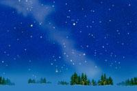雪原と星空  北海道