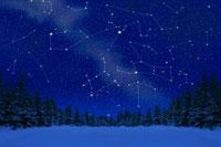 雪原の林と星座 北海道