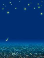 光の灯った街並と流れ星 00299010482| 写真素材・ストックフォト・画像・イラスト素材|アマナイメージズ
