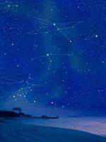 夏の浜辺と星座 00299010499A| 写真素材・ストックフォト・画像・イラスト素材|アマナイメージズ