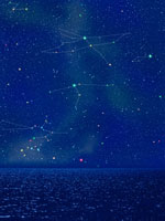 水平線と夏の星座