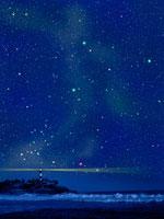 灯台と夏の星空 00299010506| 写真素材・ストックフォト・画像・イラスト素材|アマナイメージズ