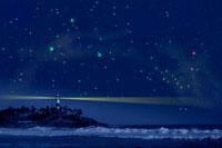 灯台と夏の星空 00299010506B| 写真素材・ストックフォト・画像・イラスト素材|アマナイメージズ